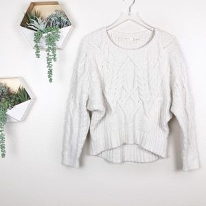 Anthro | sleeping on snow ivory chenille sweater